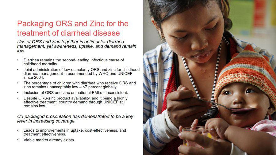 Packaging ORS and Zinc for the treatment of diarrheal disease